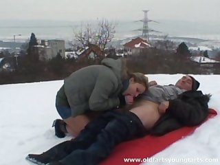 Outdoor fucking in the snow with old guy and young Ingrid B