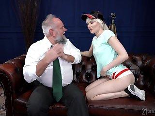 Perverted pensioner enjoys fucking young gilt botch Miss Melissa