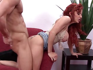Seductive redhead leaves younger sweetheart to smash their way mature cunt