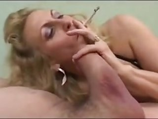 Blonde milf giving blowjob while smoking and get cum on tits