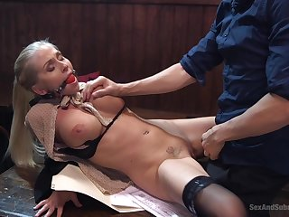 Alluring fair-haired tries her first forever gagged hardcore shag
