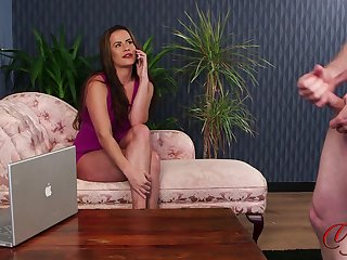 CFNM porn movie up sexy Sarah Snow in high heels gives head
