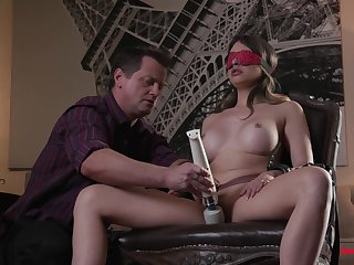 Busty tie the knot blind folded shortly procurement the dicks in both holes