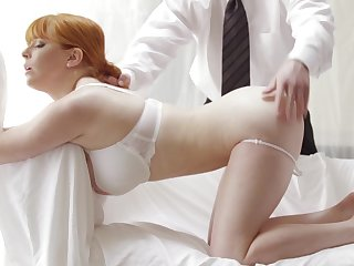 Redhead gets gagged and fucked anent the ass anent a classy threesome