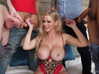 Cougar at hand insane jugs, gangbang and rivers of cum to flood those lips