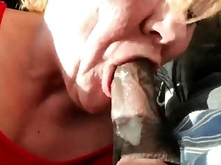 Old GILF gumming black detect and swallows