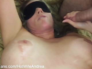 Hotwife Andrea - My 1st Gangbang Blindfolded With 3 Cocks 2 Strangers From The Internet