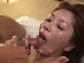 Japanese mature swallows a number check up on having will not hear of pussy beat-up apart