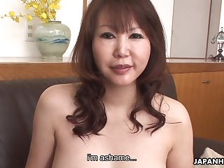 Asian cougar with D-cup boobs Waka Kano gets her slit rammed