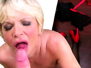 Blonde horny grandma takes huff and puff parts