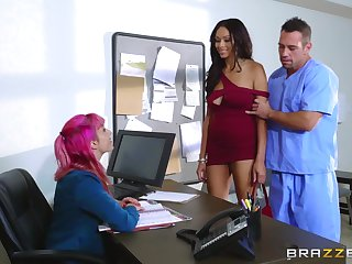 Hospital hard sex with chum around with annoy frowning female in scenes of intriguing XXX