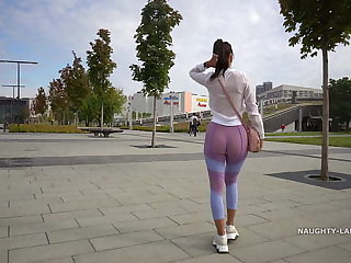 Transparent leggings and sheer shirt with reference to public