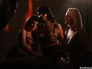 Spectacular sapphic orgy wits firelight light starring Ania Kinski, Vinna Reed plus Angel Wicky