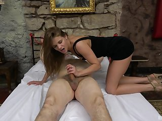 Old man tied up and gets his stiff dick pleasured by a sexy tolerant