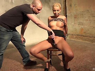 Blonde MILF tied up and restrained in rough maledom XXX