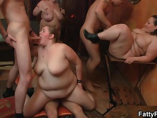 Up AT THE FATTY PUB - BBW babes with set up sex orgy