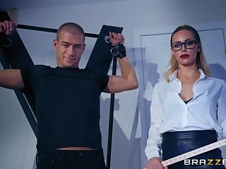 Hot mistress in glasses Nicole Aniston and her slave Xander