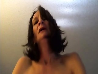 Skinny superannuated lady riding to orgasms POV