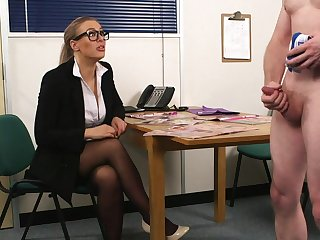 Sexual delight for a clothed office MILF in sensual CFNM occupation interview