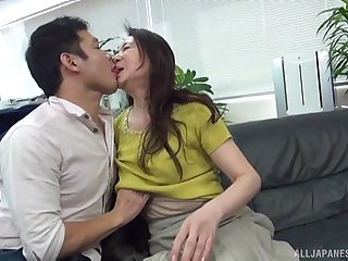 First-rate Japan mature undresses for cock after serious foreplay