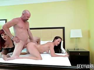 Aged man fucks younger woman with the wife next to him