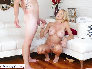 Attractive blonde girl Briana Banks enjoys getting fucked by a stud