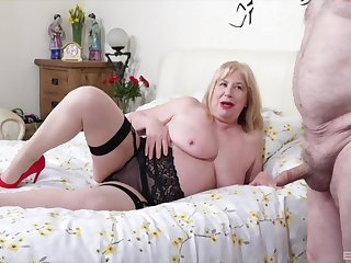 Fat bungler wife Trisha in stockings gets fucked by her lover