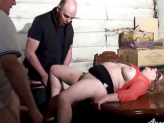 Two studs got to busty mature foetus just in time to enjoy double blowjob and hardcore