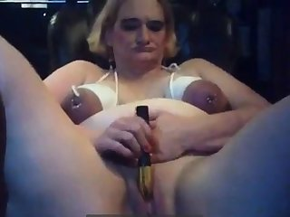 Mature BBW webcam hoe with bounded tits masturbates