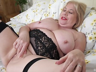 Dude with a small gumshoe fucks his fat wife Trisha on the bed