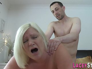 Old granny blowing hard penis