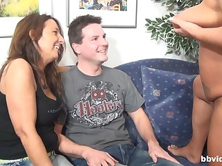 Duo horny matures want to share lasting together with fat pecker on the sofa