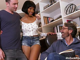Big tittied ebony chick Jenna Foxx is fucked hard by boyfriend and his stepdad