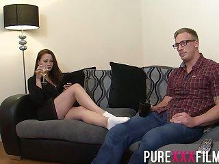 Having seduced nerdy dude Romanian nympho Lara Jade Deene enjoys riding cock