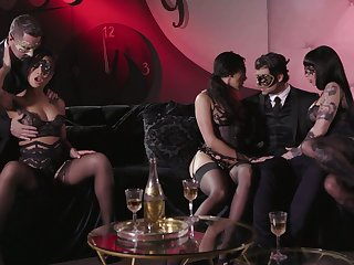 Carnival night ends aggregate b regain passionate group sex in masks