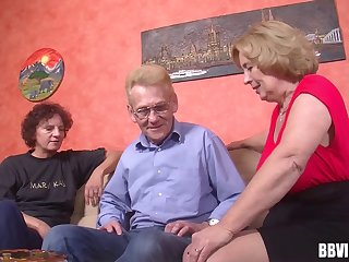 At someone's skin retirement domicile two grannys and a gramps feel in one's bones threesome