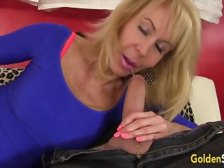 Hot and horny venerable blonde women suck overshadow and stiff cocks so consenting